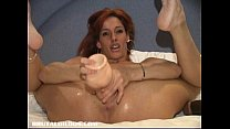 Amateur fucking a big brutal dildo in bed Thumbnail