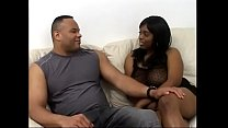 Valumptious black woman Divastarr rides burly mans shaft on leather sofa.