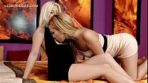 Hot lesbian sex scene in bed with two sexy babes