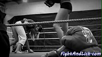 Naked lezzies wrestling in a boxing ring Thumbnail