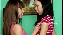 Teen lesbians enjoying first time on cam
