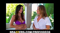Busty lesbian beauty fucks her sexy masseuse hard with strap-on Thumbnail