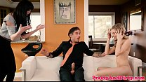 Babysitter pussyfucking in glamour threeway