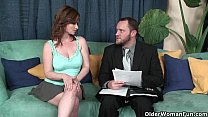 Busty milf Violet Addawson gets her hairy pussy... Thumbnail