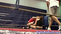 Bigtit lesbians wrestling in a boxing ring Thumbnail