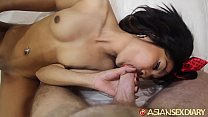 Asian Sex Diary - Asian smoke-show gets her tiny pussy creampied