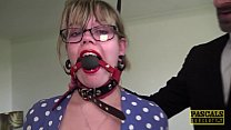 Chubby sub restrained and hammered by maledom P...