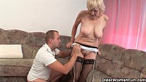 Grandma in stockings gets a facial)
