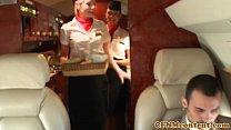 Femdom CFNM stewardesses fuck rude passenger Thumbnail