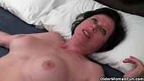 British milf Julie is toying her mature and hai...