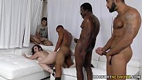 Sara Jay gets ganbanged by black dudes in front...