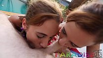 Paradise Gfs - Twins taking turns getting fucked and sucking cock P2