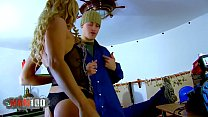 Hot blonde MILF double penetration by two workers