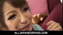 Dirty Japanase MILF gets a mouthful of hot cum