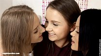 Young hotties Angelina, Dulce and Malia by Sapphic Erotica fuck each other with