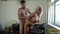 Busty British bimbo drilled hard in all of her ...