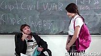 Tiny Brunette Fucks History Teacher