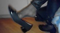 my gf dangling her heels in nylons and legging