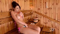 Ultra Sexy Euro babe has Orgasm in Sauna