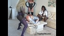 Two muscular Mistresses fuck a smaller guy in t...