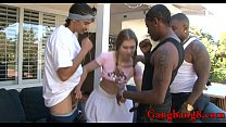 Teen babe all holes fucked by big black cocks o...