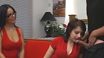 Two hot babes blow-job