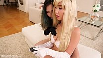 Gorgeous Asian girl cosplays Princess Peach and...