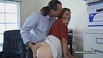 Teen secretary ass fucked by horny boss
