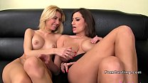 Blonde licks huge tits female agent