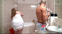 BBW gets banged in the bathroom