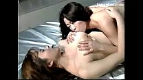 2 Busty Girls Kissing Passionately Rubbing Licking Breasts On The Bed Thumbnail
