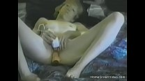Amateur blonde mature toys her pussy in bed Thumbnail