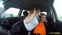 Busty woman fucked by driving instructor