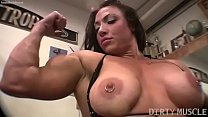 Female bodybuilder BrandiMae works her biceps a...