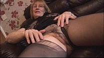 Busty blonde granny rips pantyhose to show off ...