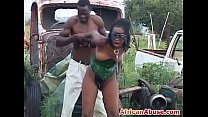 African babe ebony pussy fucks outdoor in bonda...
