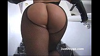 Round ass whore wearing fishnets gives guy a soaked wet blowjob