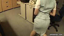 Asian slut getting fucked on the office table
