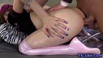 Hot ladyboy guzzles sperm Thumbnail