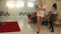 Beatiful blonde does sexy striptease