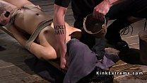 Tied up slave gets water bondage torment