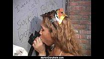 Ebony Hottie Milking Cocks in the Gloryhole 3 Thumbnail