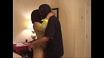 Sexy big ass black Miltf in green fishnet in bed sucks and fucks black cock