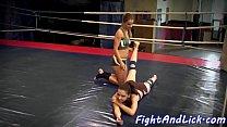 Lesbian babes wrestle in boxing ring Thumbnail
