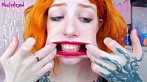 Ginger slut huge cock mouth destroy uglyface ASMR blowjob red lipstick)