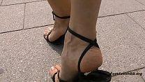 Black stiletto sandals
