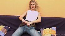 Teen in jeans does a striptease and masturbates