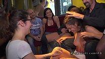 Brunette sub serving crowd in public bar Thumbnail