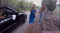 Jenny Glam fucked on a public road and sucks a ...