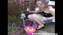 Cute Kitty flashing her panties while doing a p...